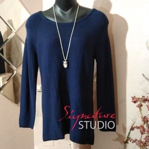 Signature Studio Waffle Knit Navy Zip Back Sweater